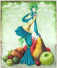 femme avec un cornet by philippe augé