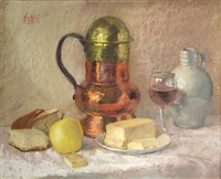 a still life including a copper and brass flagon, bread, butter, an apple and wine by thomas charles leighton