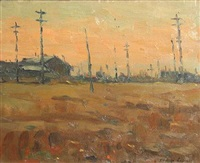 sunset at estuary by phillips frisbee lewis