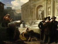 selbstbildnis mit künstlerfreunden an der fontana di trevi in rom by wilhelm august lebrecht amberg