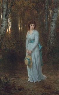 meditation: junge frau im weißen sommerkleid in einem birkenwäldchen by wilhelm august lebrecht amberg