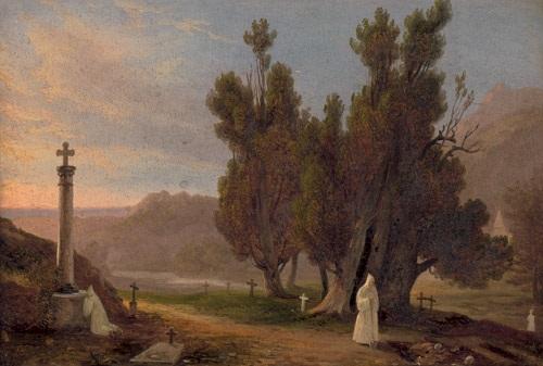 landschaft mit zwei mönchen auf einem friedhof by massimo dazeglio