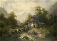 landschaft mit einer wassermühle an einem reissenden gebirgsfluß by hildegard lehnert
