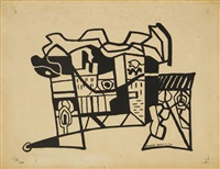 harbor landscape (funnel and smoke) by stuart davis