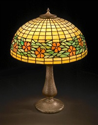 floral border lamp by art glass & metal co.