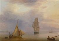 dänischer dreimaster auf dem wasser im abendrot, im vordergrund links ein kleines holländisches schiff by fredrich theodor kloss