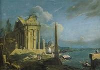 venezianische küstenlandschaft mit tempelruine und obelisk by antonio de pian