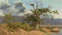 landschaft mit drei schafen unter einer knorrigen eiche an einem see by heinrich buntzen