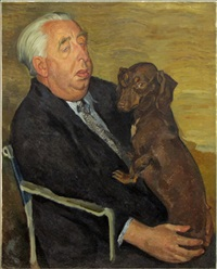 portrait of a man with dachshund by nikolai vladimirovich remizov