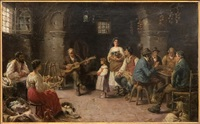 cottage interior with merry makers by a. secola