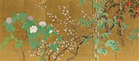 pair of six-panel screens depicting flowers of the four seasons by hakuho