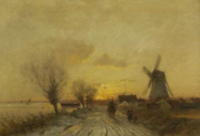 holländische winterlandschaft im abendlicht by xaver curt