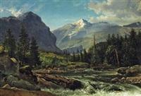 alpenlandschaft mit wildbach by eduard wilhelm pose