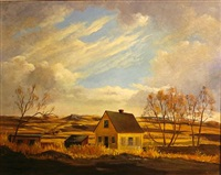 farmhouse on a prairie (+ snow-covered hills, lrgr; 2 works) by hall diteman
