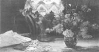 stilleben mit astern, spielkarten und einer tischlampe by e.t. dunlitte
