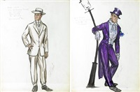 costume designs from the seven little foys (sketches; 2 works) by pat barto