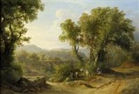 italienische landschaft mit viadukt, im vordergrund eine ziegenhirtin by karoly marko the younger