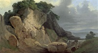 landschaft mit wildbach und felsformation by august friedrich wilhelm nothnagel