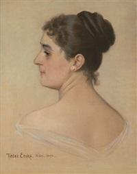 bildnis einer dame im profil mit hochgesteckten haaren und perlohrringen by feodor encke