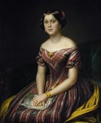 bildnis einer jungen dame im gestreiften kleid mit goldschmuck und blumen (die nichte des künstlers) by wilhelm ernst herbig