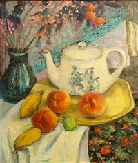 a still life of a teapot and fruit by irving kraut manoir