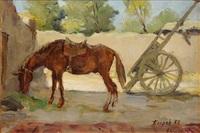 pferd im hof by genrich bagrov