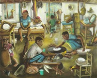 family at home, making casava by wilson bigaud