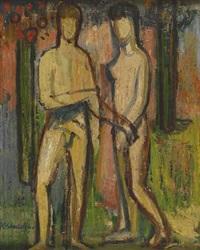 nacktes stehendes paar (adam u. eva?) by karl stachelscheid