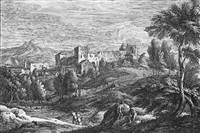 weite voralpenlandschaft mit einer festung (after marco ricci) by davide antonio fossati
