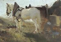 pferdegespann im sonnenlicht by hugo konig