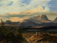 pyrenäenlandschaft mit heimkehrendem bauer by charles caius renoux