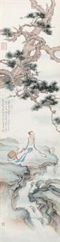 松风弄水 镜心 设色纸本 by ren zhong