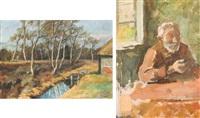 moorlandschaft mit kate (+ sitzender mann vor fenster (sketch), verso) by karl krummacher