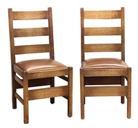 dining chairs (after gustav stickley; set of 10) by warren hile