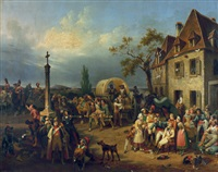napoleonische soldaten in einem feldlazarett bei einem gasthaus by hippolyte lecomte