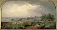 weite flusslandschaft mit einer schafherde by charles smith
