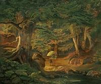 eichenwald mit maler vor der staffelei by johann friedrich stock