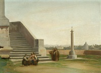 römische szene - terrasse mit figurenstaffage, im hintergrund die villa medici by heinrich reinhold