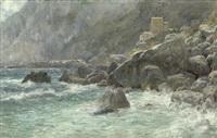 felsenküste von capri bei sciroccostimmung by max merker