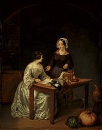 kücheninterieur mit einer dame im kleid aus weißer atlasseide und ihrer magd im gespäch by jean auguste testé