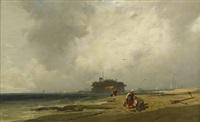 fischerpaar an der holländischen küste, im hintergrund die silhouette einer stadt by charles hoguet