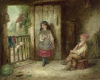 kinder im spiel mit einer gans by mark william langlois