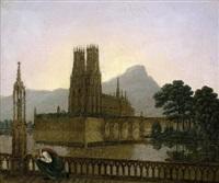 gotischer dom in einem see, im vordergrund eine kniende frau vor einer heiligenstatue by karl friedrich schinkel