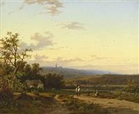 sonnige abendlandschaft mit einem reiter by peter heinrich lambert von hess