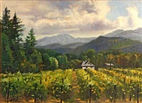 vineyard with mountains in the distance, believed to be napa valley (+ clouds over rolling hills; pair) by paul youngman
