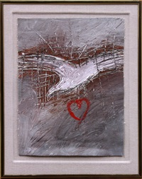 red heart with dove by squeak carnwath