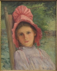 girl in red bonnet by anna lee stacey