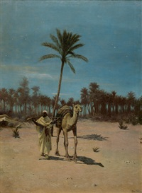 nächtliche wüstenlandschaft mit einem beduinen und dromedar an einer oase by otto pilny