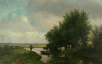 holländische landschaft mit kanal und weidenden kühen, im hintergrund haarlem by willem vester