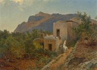 sommerliche landschaft auf capri mit kleinem bauernhaus by cäsar metz